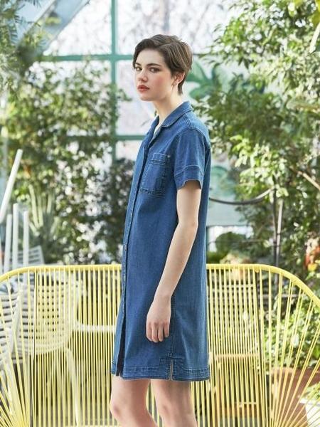COLLABOTORY Open Collar Denim Dress - Blue
