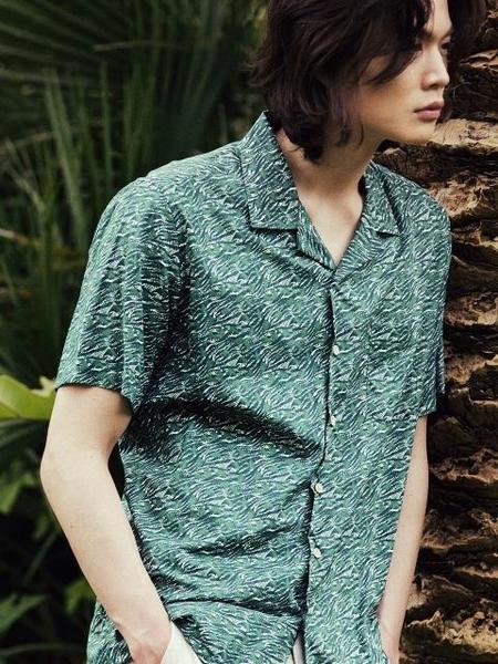 ANOBLIR Regular fit Open Collar Hawaiian Shirts - Green