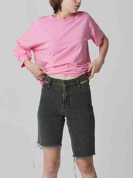 Bouton Tin Denim Shorts - Mint