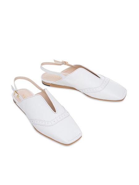 HAILI Lady Wing Tip Slingback Flat Shoes - White