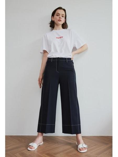 AEER Wide Wool Span Pants - Navy