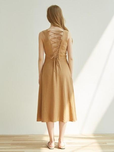 ATRE Backless Dress - Camel Beige