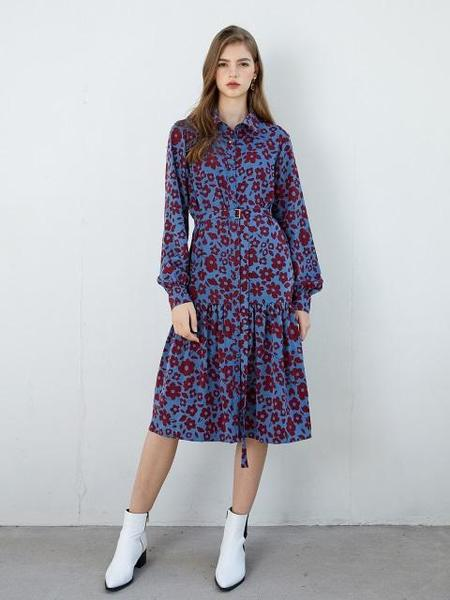 F.COCOROMIZ Big Flower Ruffle Dress - Blue