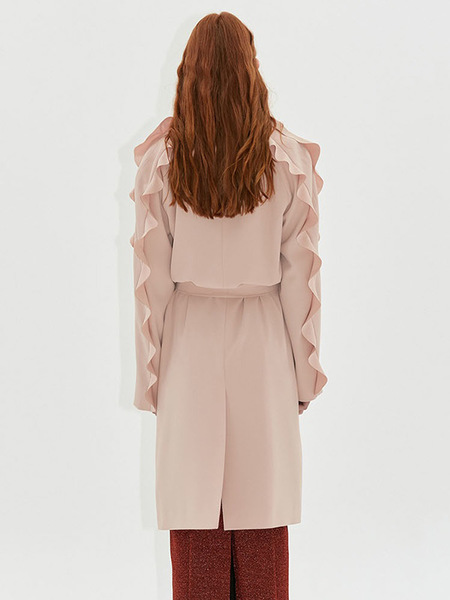 Dew E Dew E Frill Trench Coat - Pink