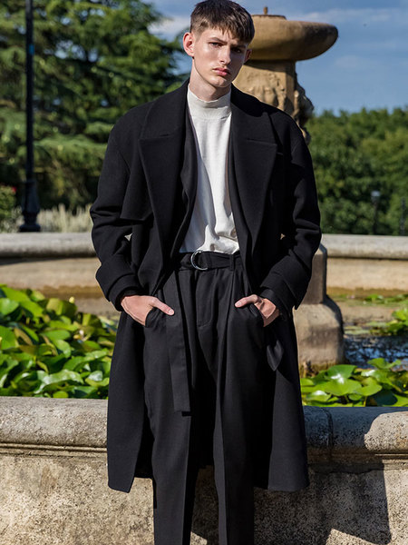BELIER Oversized Wool Trench Coat - Black
