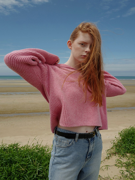 NUISSUE Tricot Hoodie Knit - Pink