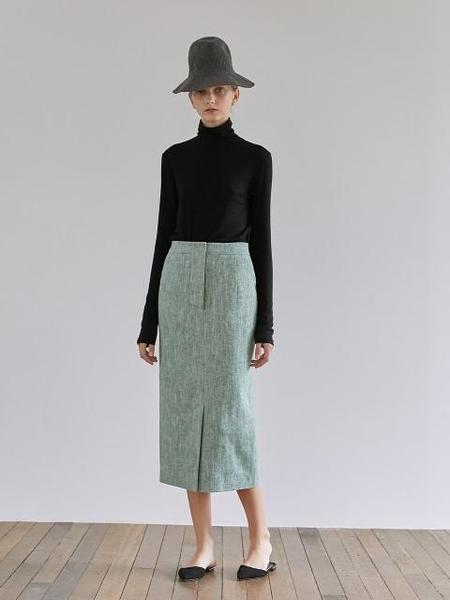 GRE1SCALE Herringbone Slim Fit Long Skirt - Green