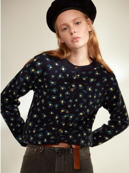 CLOCLOTHES Ava Leopard Round Cardigan - Navy Leopard