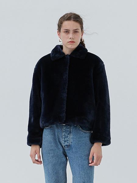 CURRENT Faux Fur Crop Jacket - Navy