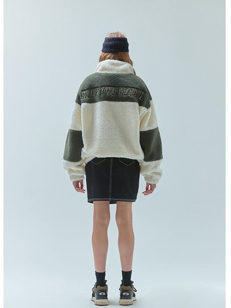 Unisex 5252 BY O!OI Fake Wool Two Tone Shearling Jacket - Ivory