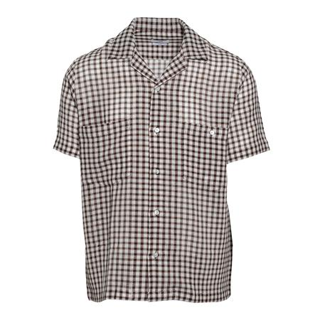CMMN SWDN Dexter Two Pocket Collar Short Sleeve Shirt - White/Brown Check