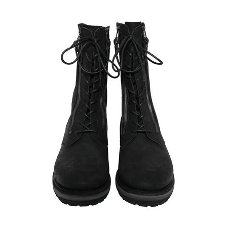 The Viridi-Anne Dual Zip Leather Boots - BLACK