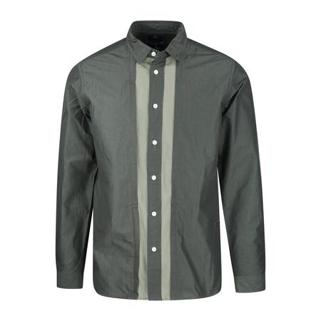 Meanswhile Micro Herringbone Front Pocket Shirt - CHARCOAL