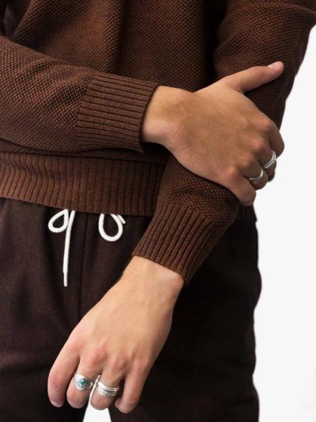 De Bonne Facture Crew Neck Pique Sweater - Chestnut