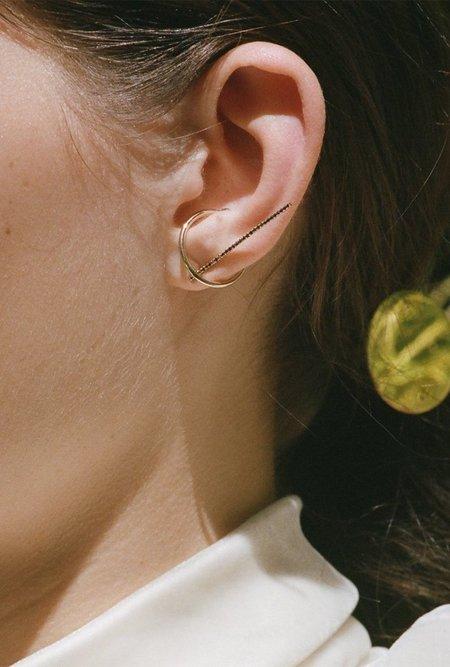 Gabriela Artigas Black Diamond Single Axis Bar Earring - 14k Gold