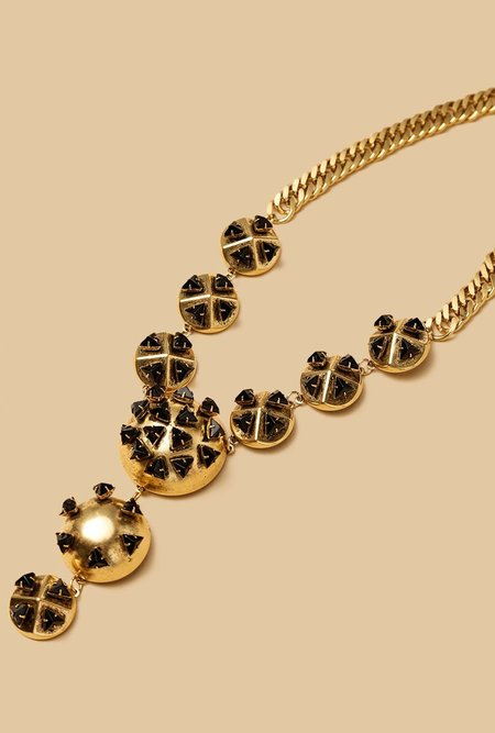 Multi Dome Black Tri Necklace
