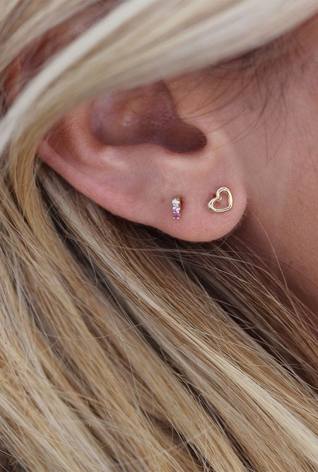 Lumo Single Ombre Pink Sapphire & White Diamond Stud Earring - 14k Gold