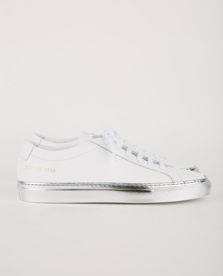 Common Projects ACHILLES WITH COLORED SHINY SOLE - White/Silver