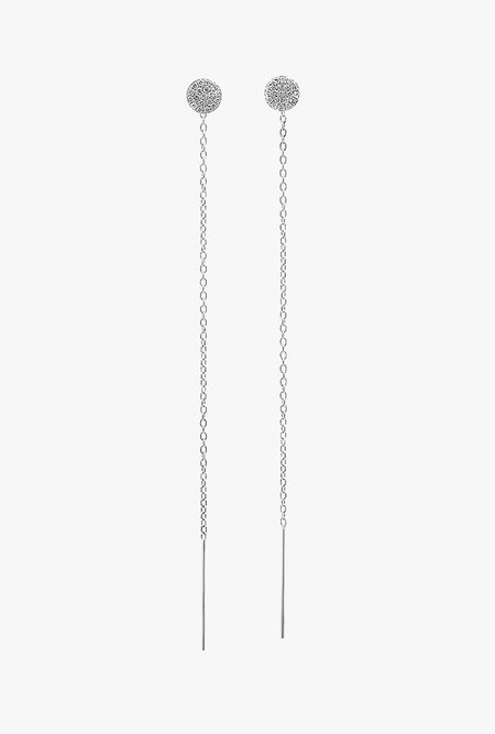 Eriness Pave Diamond Circle Threader Earrings - 14k White Gold