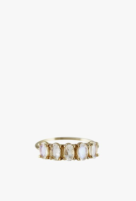 Lumo 5 Oval Moonstone Ring - 14k Gold