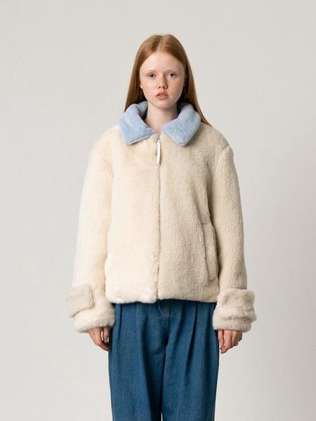 ROCKET X LUNCH Faux Fur Mix Block Jumper - Ivory