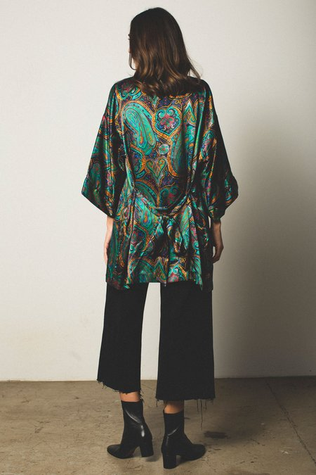 Preservation Vintage Silky Robe - Green Paisley