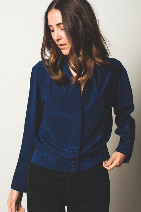 Preservation Vintage Silk Blouse - Navy