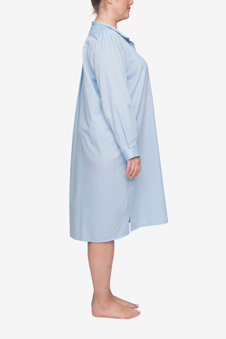 The Sleep Shirt Long Plus Sleep Shirt - Soft Blue Stripe