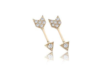 Ef Collection Diamond Mini Arrow Stud Earrings - Yellow Gold