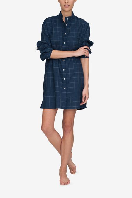 The Sleep Shirt Placket Flannel Sleep Shirt - Navy Windowpane