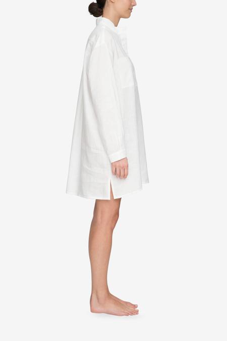 The Sleep Shirt Placket Linen Sleep Shirt - White