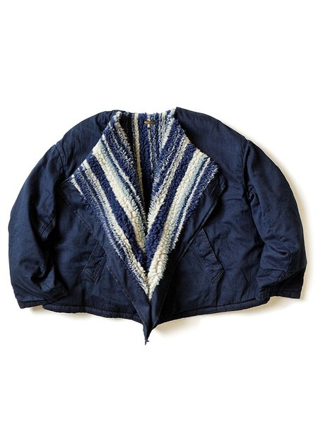 Kapital 8Oz Denim X Primal Stripe Boa Fleecy Shepherd Cape Bolero - Indigo