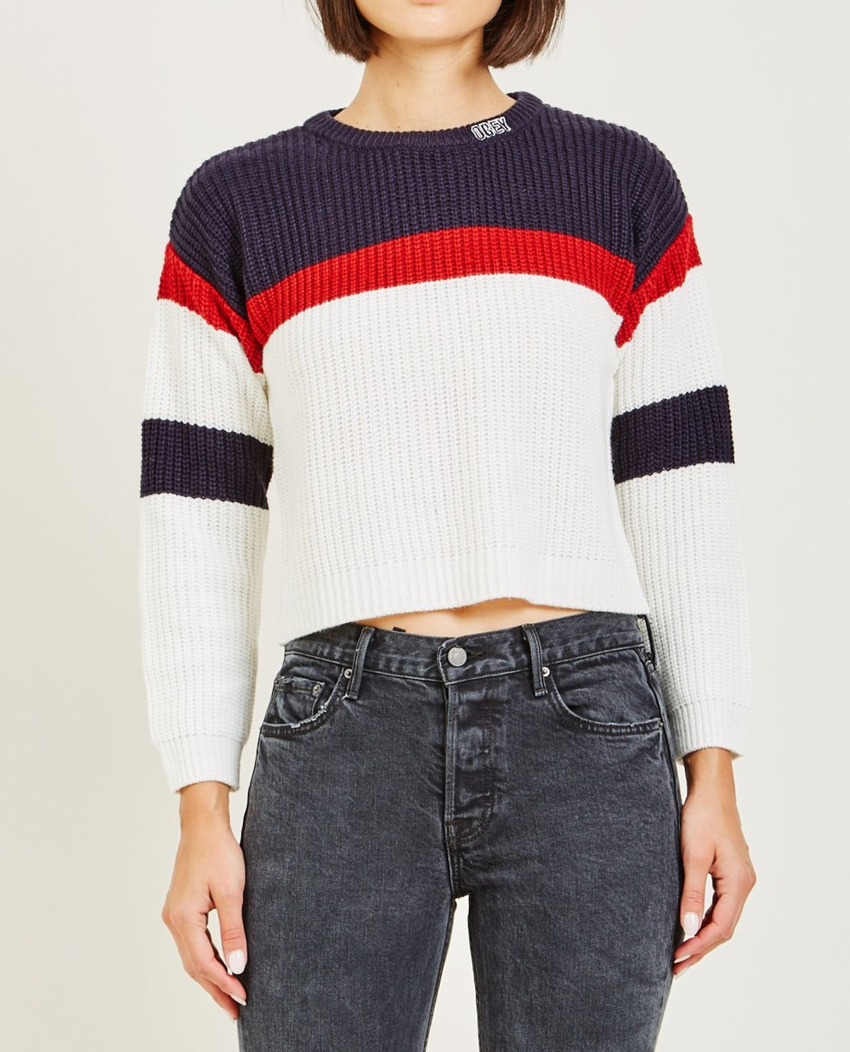 Obey ALLIE STRIPED CREWNECK SWEATER - Navy  5ced560d4