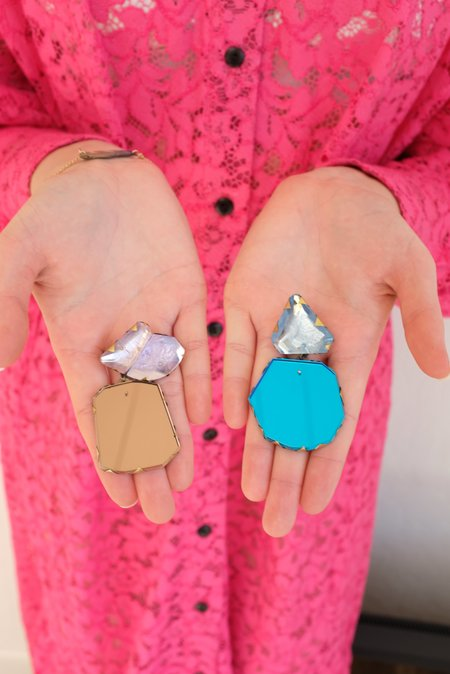 Nikki Couppee Mismatched Dangle Blue/Champagne Earrings