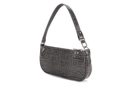 By Far Embossed Leather Rachel Bag - Grey Croco
