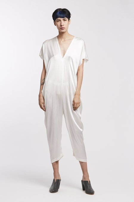 Miranda Bennett Silk Charmeuse Everyday Jumpsuit - White