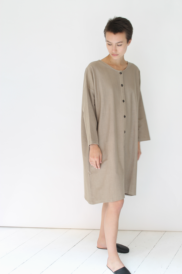 Revisited sweatshirt button up dress | tan