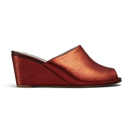 Ops&Ops No15 Wedge Mules - Flame
