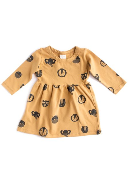 KIDS North of West Kids Animals Long Sleeve Organic Gathered Dress - Gold/Charcoal