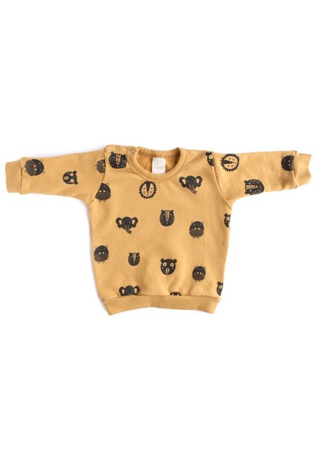 KIDS North of West Kids Animals Organic Sweatshirt - Gold/Charcoal