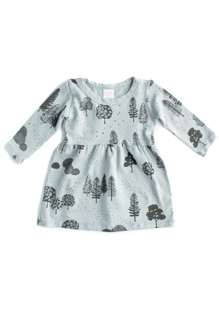 KIDS North of West Kids Trees Long Sleeve Organic Gathered Dress - Storm/Charcoal