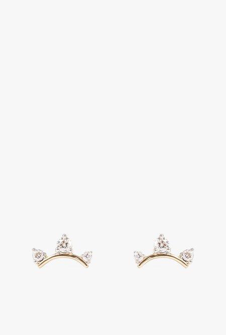 Adina Reyter 3 Diamond Amigos Curve Post Earrings - 14K GOLD