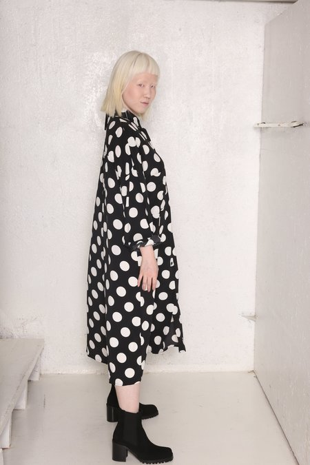 """INTENTIONALLY __________."" Prize polka dot Shirt Dress - BLACK/WHITE"