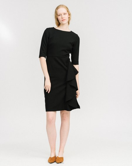 Samuji Cascading ruffle Dress - black