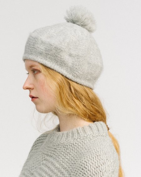 Micaela Greg Pom Pom Alpaca Beret - Grey Heather