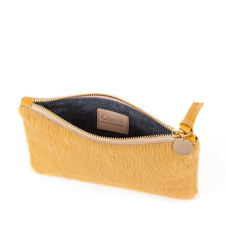Clare V. Wallet Hair-On Clutch - MARIGOLD