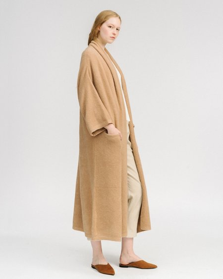 Atelier Delphine Haori extra long knit coat - camel