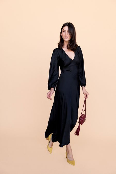 BETWEEN TEN Natasha Dress - Black Satin
