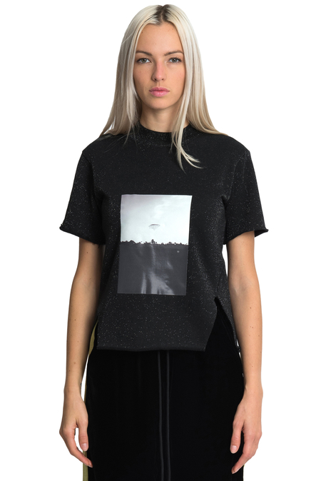 Song for the Mute Plastic Front Split T-shirt - Black
