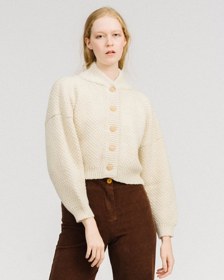 Wol Hide Box alpaca bomber cardigan - white